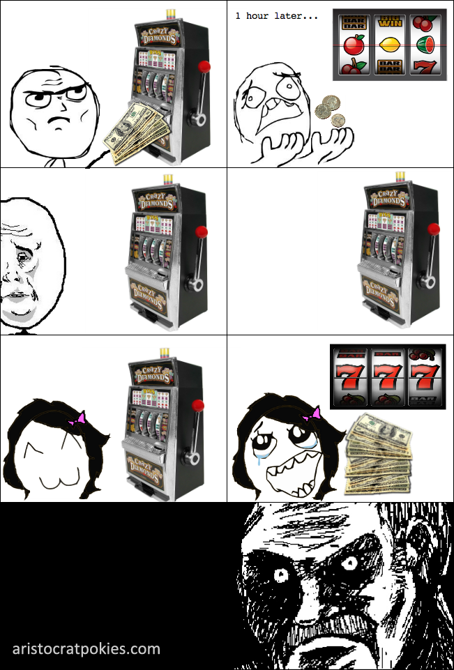 Rage comic strip, life at the slot machines